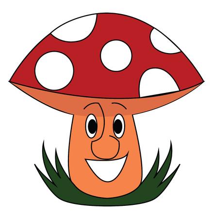 Smiling red mushroom vector illustration on white background