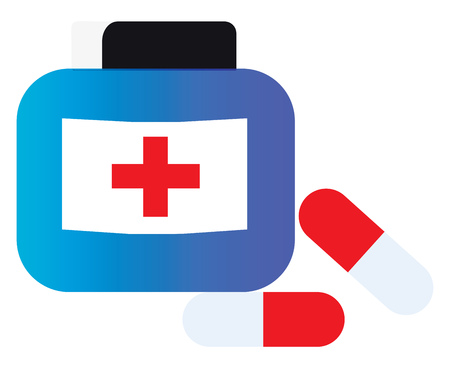 First aid box and medicines vector or color illustration Ilustracja