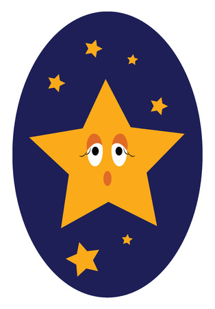 Star in a bright blue sky vector or color illustration Иллюстрация