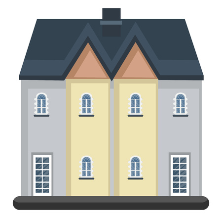 Cartoon white building with blue roof vector illustartion on white background
