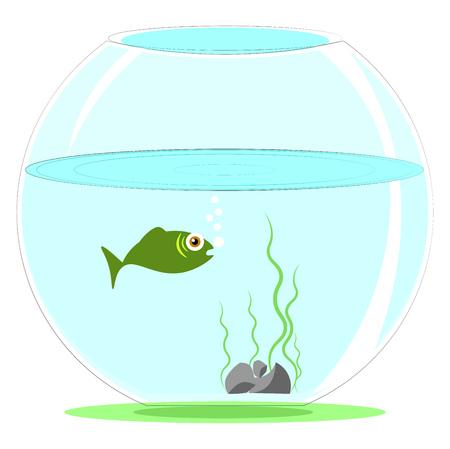 Simple cartoon aquarium fish vector illustration on white background