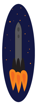 Simple  vector illustrationof a grey rocket in space eclipse  on white background