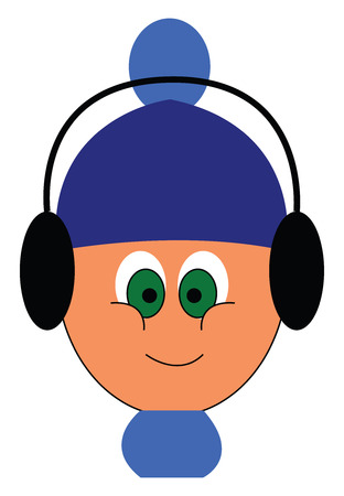 Little boy with blue hat and headphonesillustration vector on white background Illusztráció