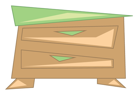 Wooden chest of drawer to store vector or color illustration