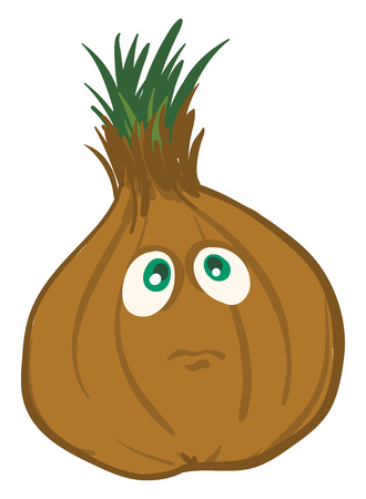 Sad brown onion  vector illustration on white background
