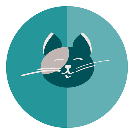 Cat with white mustache vector or color illustration
