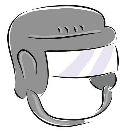 Grey hockey helmet illustration vector on white background