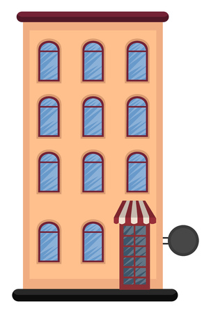 Cartoon orange building with three floors vector illustration on white background