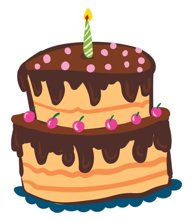Schokoladenkuchen mit Kirschtoppings, Vektor- oder Farbillustration