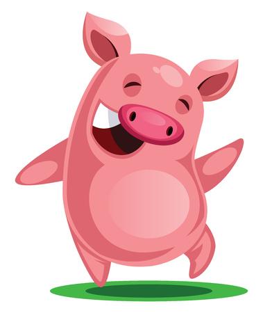 Vettore felice dell'illustrazione del nuovo anno cinese del maiale su fondo bianco Vettoriali