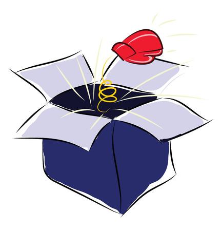 A blue pop box gloves box vector or color illustration Archivio Fotografico - 123410869