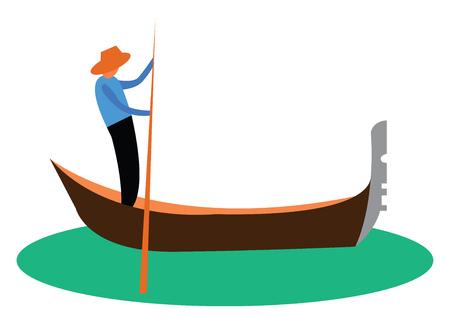 A man is propelling gondola boat vector or color illustration Illustration
