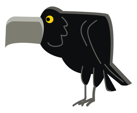 An angry black crow vector or color illustration