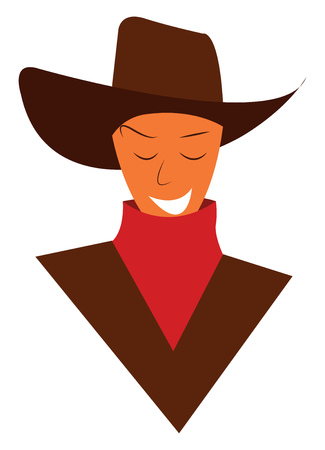 A traditionally dressed cowboy vector or color illustration