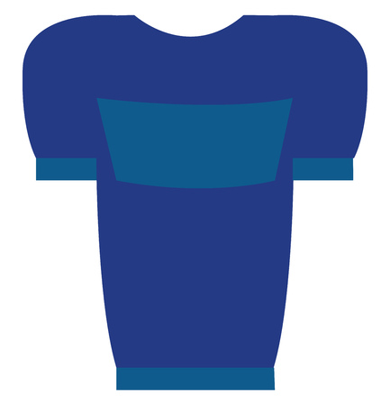 Blue t-shirt with blue print vector illustration on white background