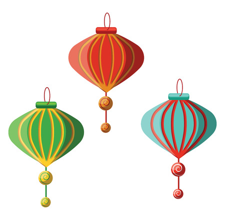Traditional Chinese lanterns for Chinese New Year decoration illustration vector on white background