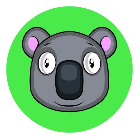 Cartoon grey koala vector illustartion on white background