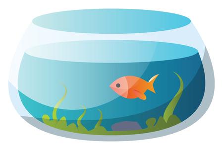 Round fishbowl with one goldfish vector illustration on a white background Illustration