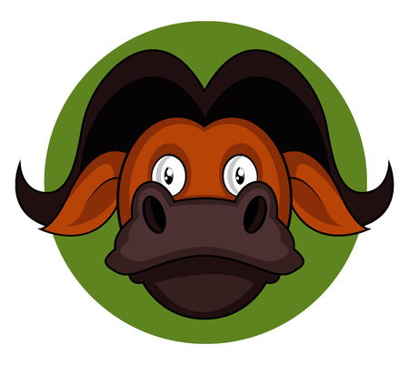 Cartoon brown buffalo vector illustration on white background