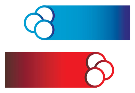 Red and blue colorful button vector or color illustration