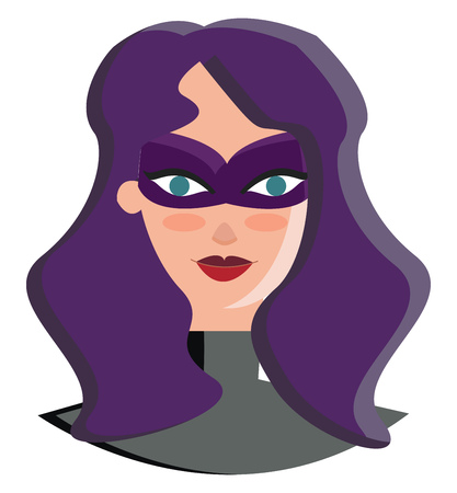 A super woman in purple hair vector or color illustration
