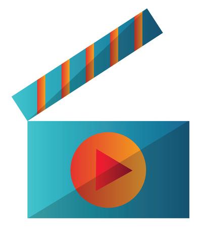 Blue and orange video player icon vector illustration on a white background Ilustração