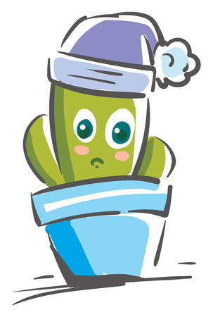 Painting of a cute cactus vector or color illustration