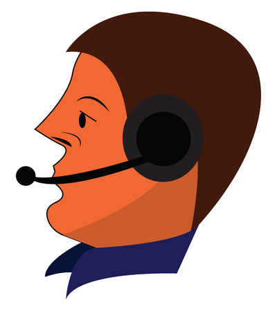 Face of an operator vector or color illustration