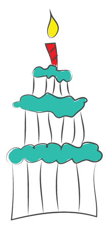 Three-story cake with blue frosting and red  candle on top vector illustration on white background