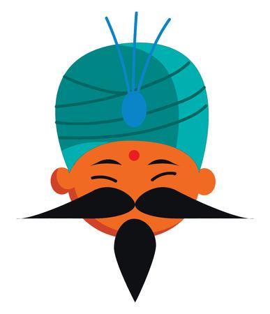 A man in Indian costume vector or color illustration Illustration
