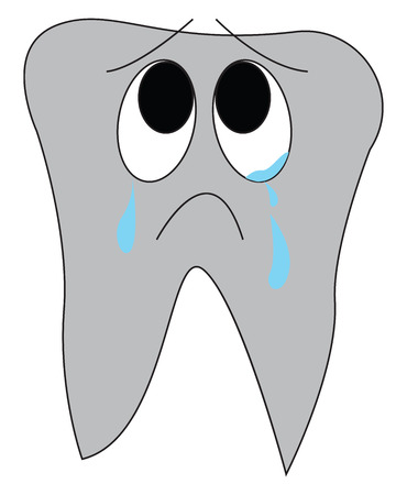 Cartoon of a crying tooth vector illustration on white background