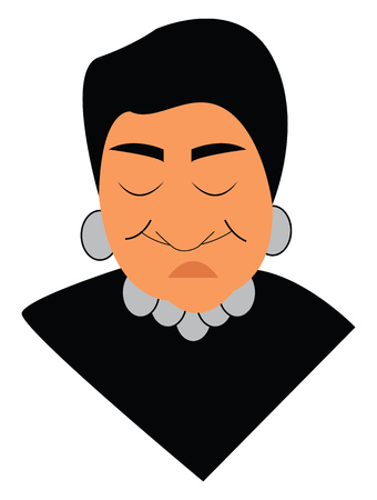 Old woman in black dress vector or color illustration