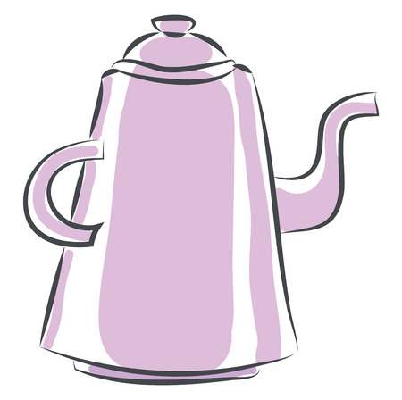 Pink teapot vector illustration on white background