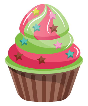 Cupcakes with star shaped sprinkles illustration vector on white background