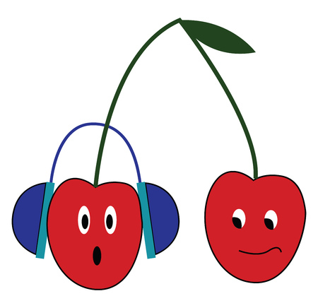 Cherry fruit is listening to music vector or color illustration