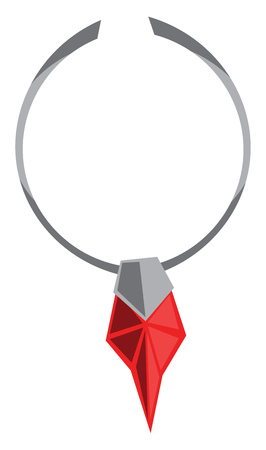 A beautiful necklace with ruby vector or color illustration