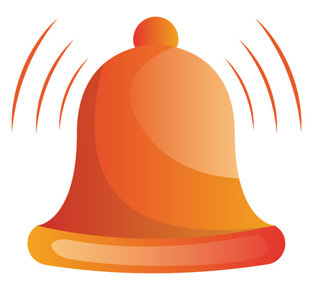 Orange ringing bell vector illustration on white background