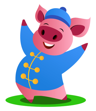 Cartoon pig in blue chinese suit vector illustration on white background