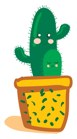 Cactus in yellow decorative pot vector or color illustration 矢量图像