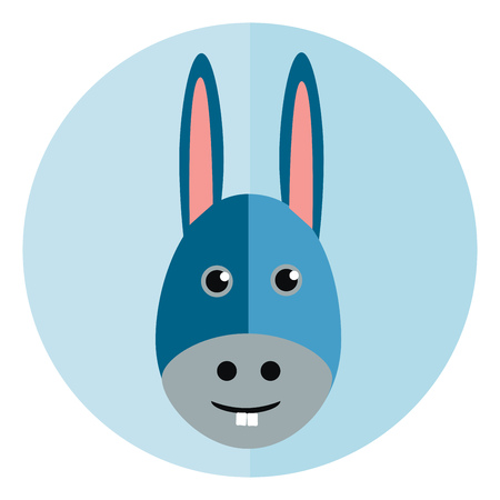 Face of a little donkey vector or color illustration