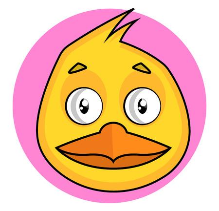 Yellow cartoon bird vector illustration on white background