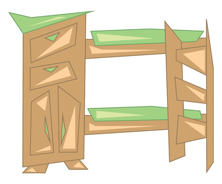 Wooden bunker bed vector or color illustration Фото со стока - 123411067