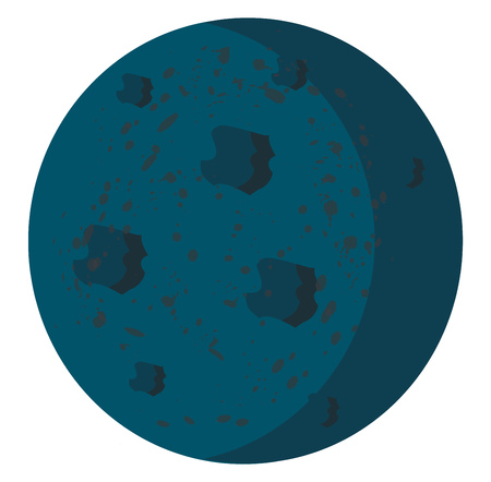 Blue planet with uneven surface vector or color illustration Ilustração