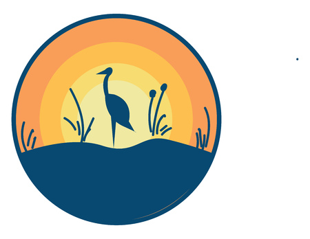 Landscape with an Ostrich bird vector or color illustration Çizim