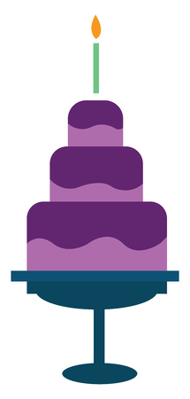 Three-layer birthday cake vector or color illustration
