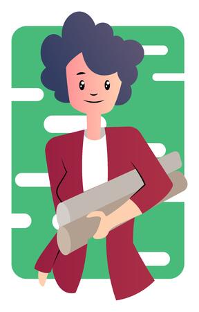 Cute cartoon businesswoman vector illustartion on white background