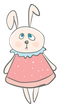 Big eared hare in pink dress vector or color illustration