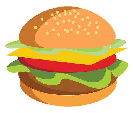 A big burger vector or color illustration