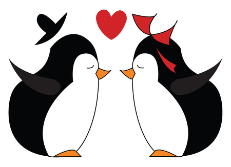 Penguin in love vector or color illustration Stock Illustratie