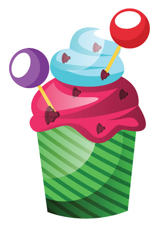 Colorful cupcake with lollipop decoration illustration vector on white background